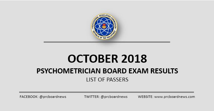 RESULT: October 2018 Psychometrician board exam list of passers