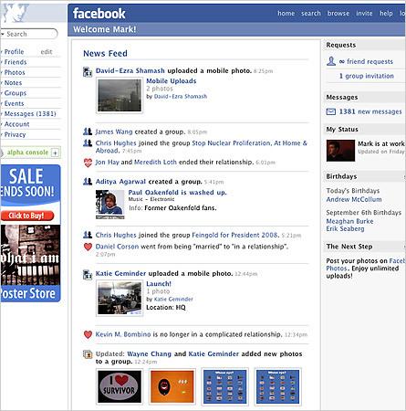 Evolusi Desain Facebook tahun 2006