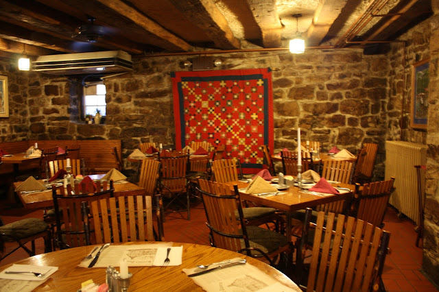 Charming dining room in the historic Jean Bonnet Tavern in Bedford, Pennsylvania