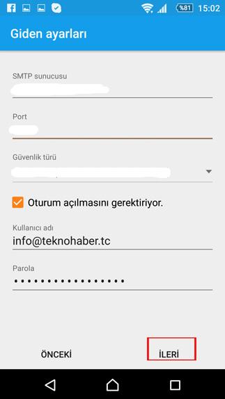 android e-posta imap giden kutusu ayarları