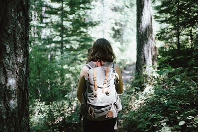 Bild bakifrån på kvinna som går genom skog med ryggsäck på ryggen.