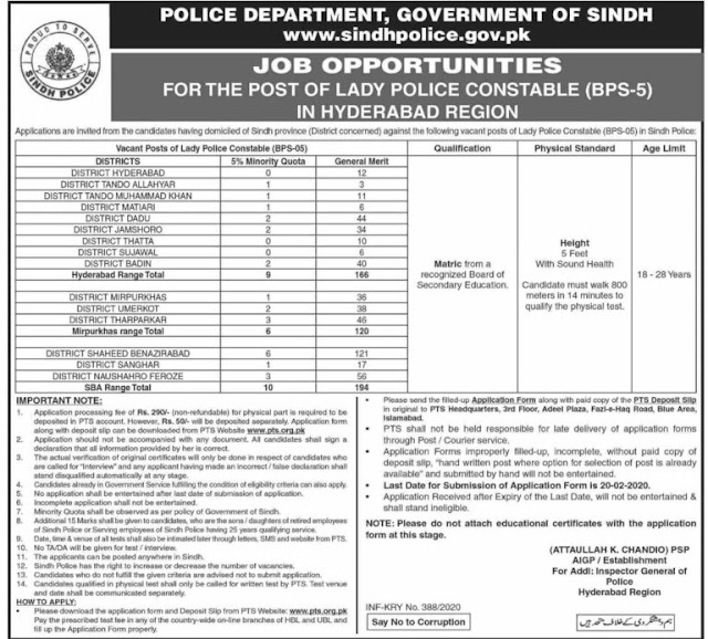 Sindh Police Jobs February 2020 for Karachi and Hyderabad Region Male and Female