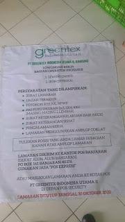 Lowongan Kerja PT Greentex Indonesia Utama II