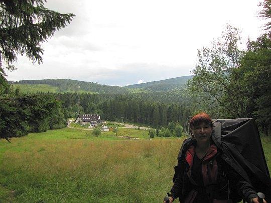 Przełęcz Glinne (słow. Hliny; 809 m n.p.m.) ze stoków Studenta.