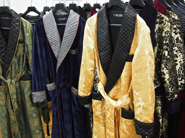 Mens quilted silk dressing gown smoking jacket paisley robe velvet housecoat
