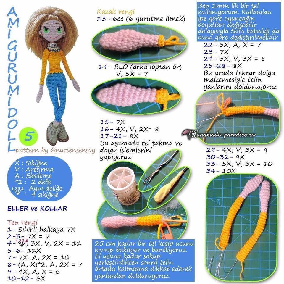 Амигуруми. Куколка Модница крючком (7)