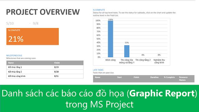 Danh sách các báo cáo đồ họa (Graphic Report) trong MS Project