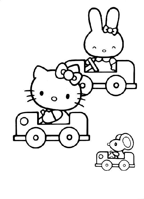 Tranh tô màu mèo hello kitty lái xe ô tô