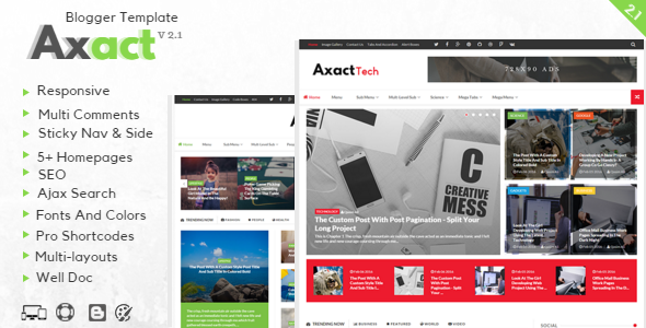 Download Free Axact Responsive Blogger Theme v.2.1