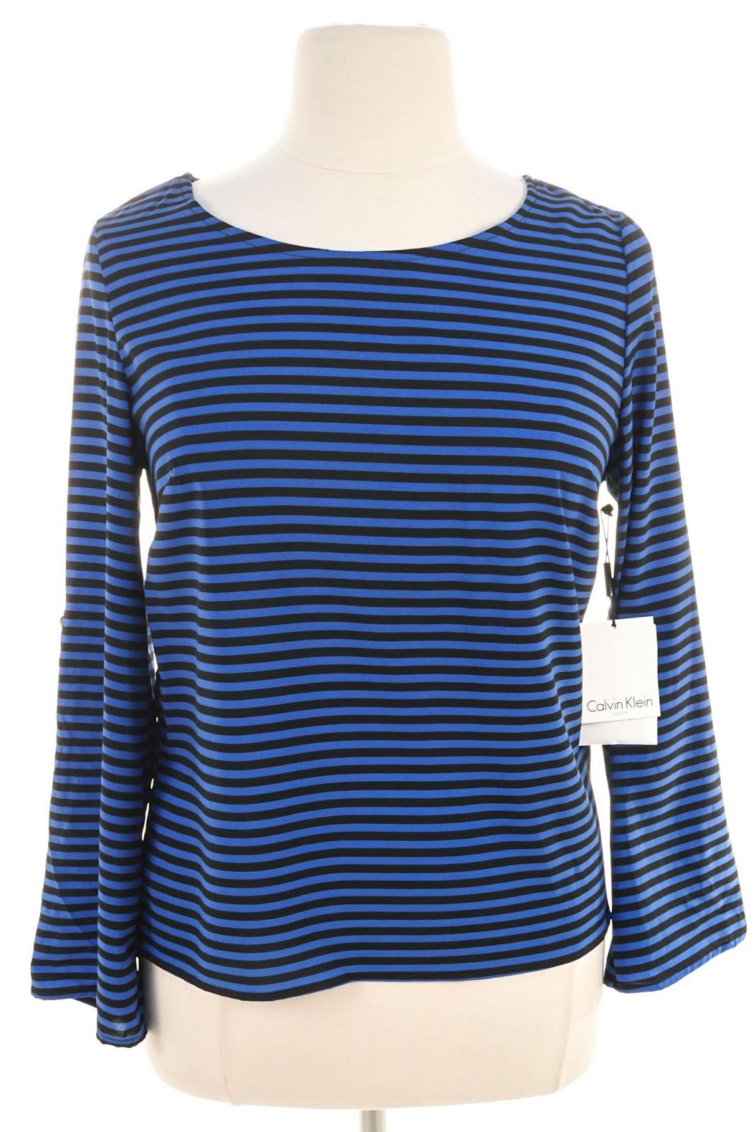 fc01848db1 women's long sleeve striped shirt with light and dark blue thin stripes · Calvin  Klein ...