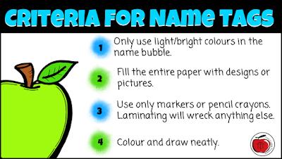 criteria for name tags Terri's Teaching Treasures