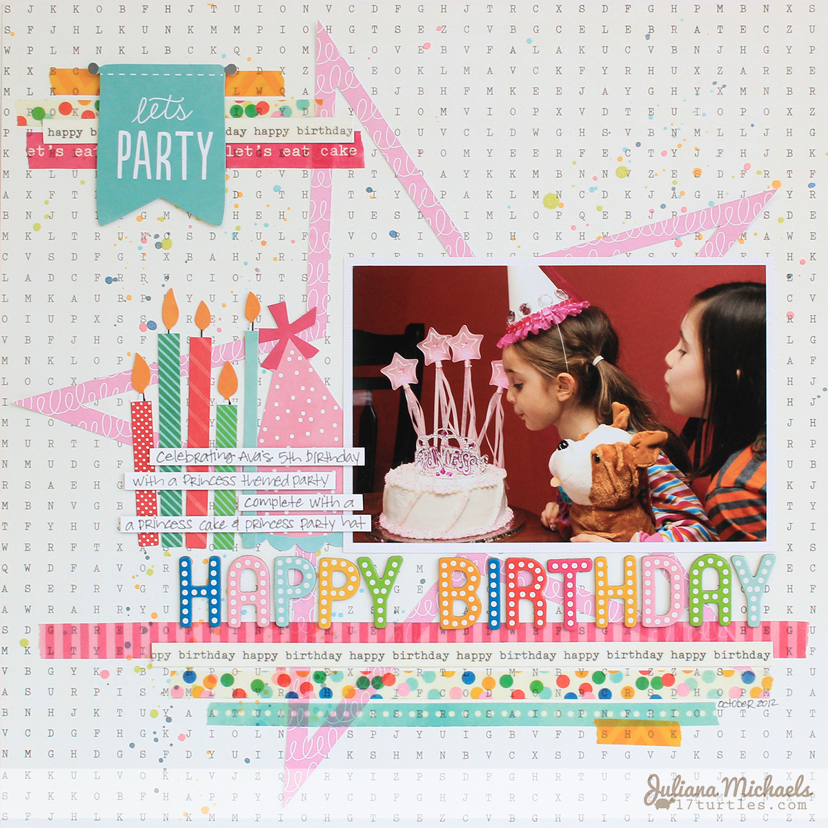 Happy Birthday Scrapbook Page by Juliana Michaels for Pebbles Inc using Birthday Wishes Collection