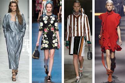 Alguns exemplos de tendências: metalizados, flores, riscas e folhos