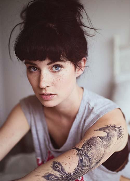 woman sleeve phoenix tattoo kadın kol anka kuşu dövmesi