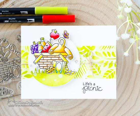 Picnic Cat Card byTatiana Trafimovich | Newton's Picnic Stamp Set and Tropical Leaves Stencil by Newton's Nook Designs #newtonsnook #handmade