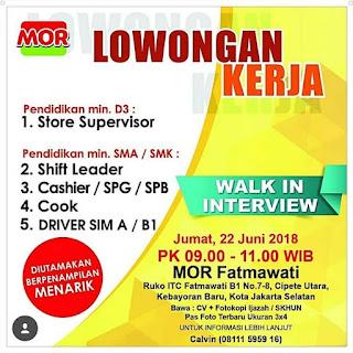 Info Lowongan Kerja MOR Juni 2018 Jakarta - pada kali ini kami akan menginformaaikan lowongan khusus untuk anda laki-laki atau perempuan ijazah SMA/SMK sederajat, D3 sampai Sarjana untuk domisili jakarta. Lokasi toko di Fatmawati kebayoran baru Jakarta selatan.