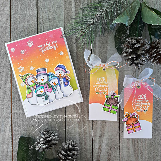 Deck the Halls with Inky Paws Week - Day 2 - Tina Smith | Frosty Folks Stamp Set and Purr-fect Present Stamp Set by Newton's Nook Designs #newtonsnook #handmade