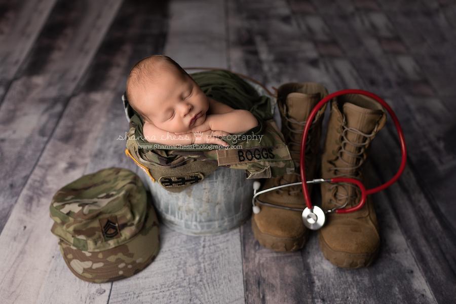 Customized newborn portraits Eugene OR, baby boy with army uniform