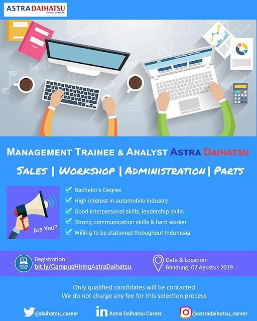 Lowongan Kerja Management Trainee Astra Daihatsu Bandung Agustus 2019