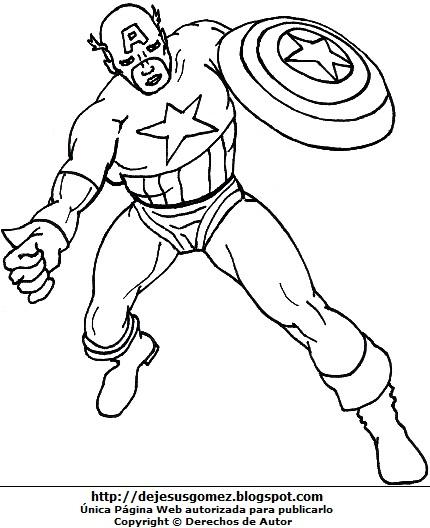 Imagen del Capitán América para colorear pintar imprimir. Dibujo del Capitán América de Jesus Gómez
