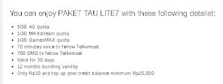 Kouta dan paket Internet TAU LITE7