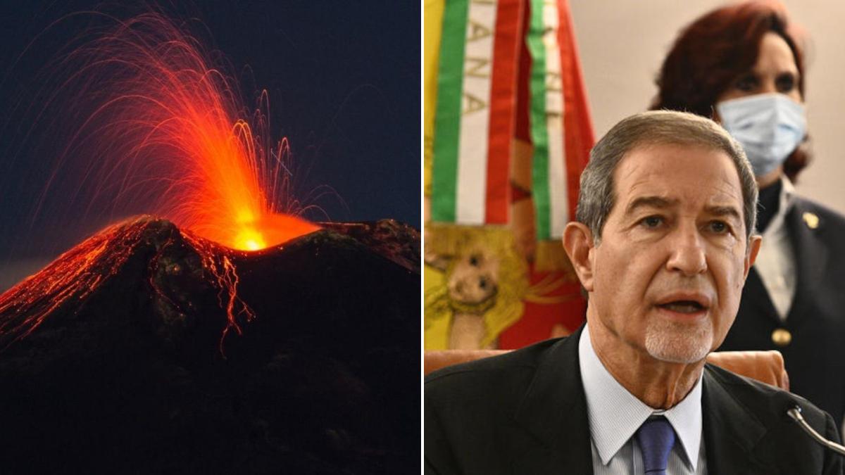 Presidente Musumeci Etna cenere lavica richiesta calamità nazionale emergenza cenere