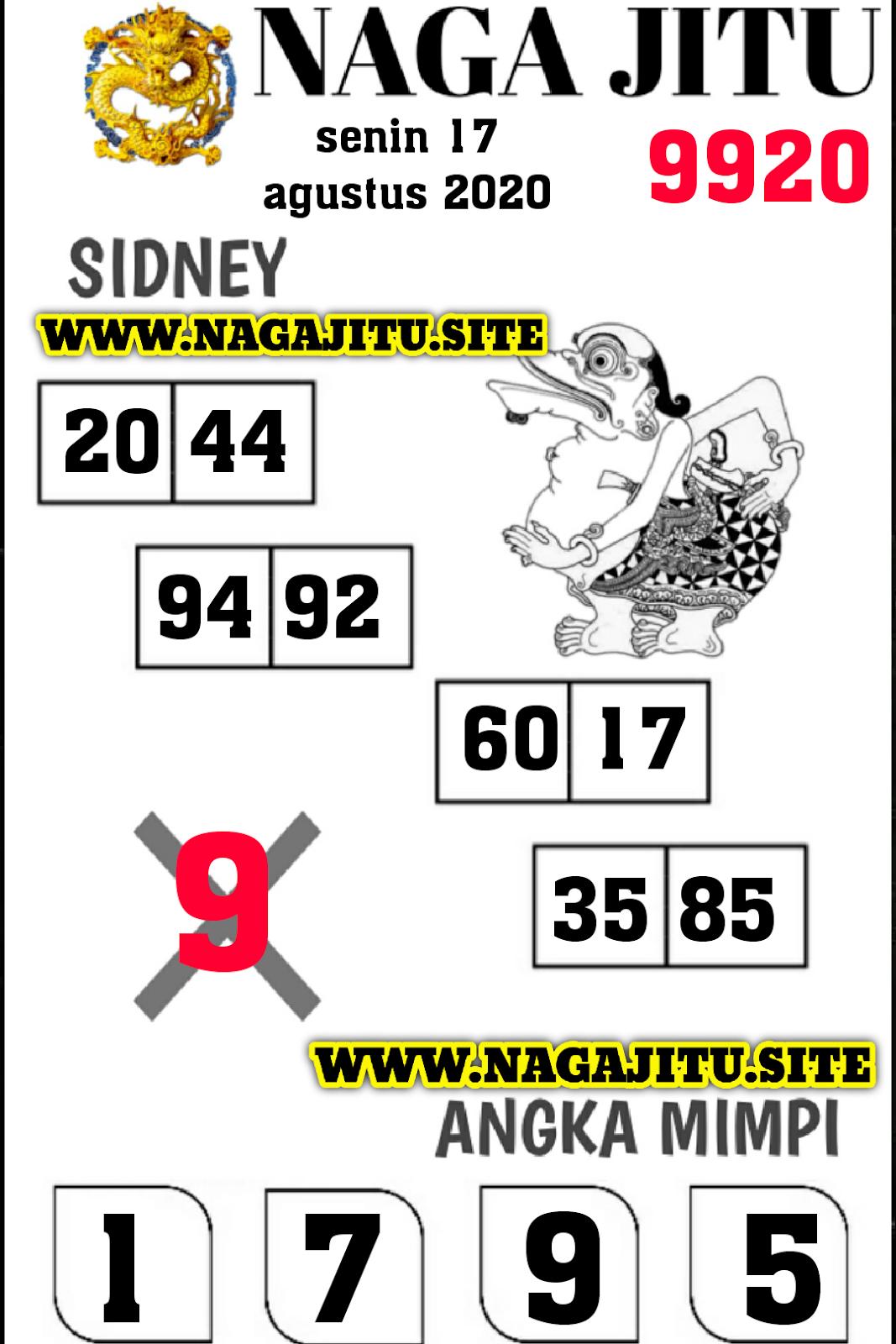 SYAIR NAGA SYDNEY SENIN 17 AGUSTUS 2020