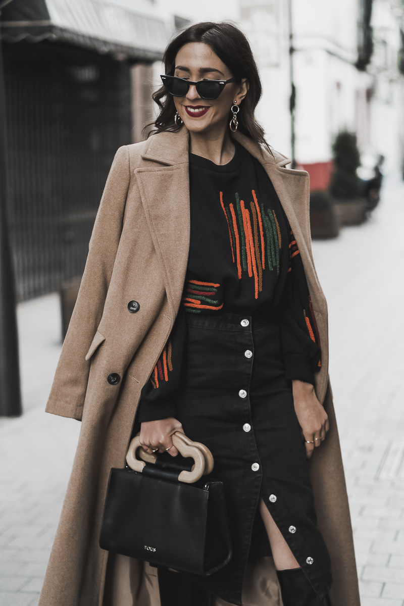 CAMEL COAT+MIDI SKIRT