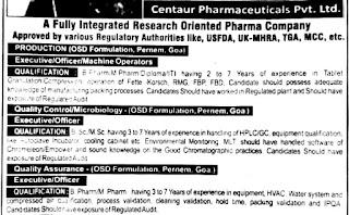 Diploma/ ITI/BE/B.Pharm/ M.Pharm B.Sc./M.Sc./Any Graduate Job Vacancy in Centaur Pharmaceuticals Pvt. Ltd.Goa