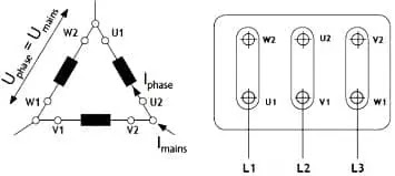 delta connected motor winding
