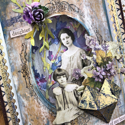 Sara Emily Barker Vintage Valentine Card  https://sarascloset1.blogspot.com/2019/01/the-music-of-my-heart-vintage-valentine.html Tim Holtz Sizzix Faceted Heart and Organic Stampers Anonymous Lattice & Flourish 5
