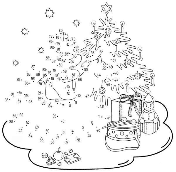 Fichas de Primaria: Ficha de unir puntos de Navidad