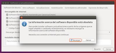 Software y actualizaciones Recargar
