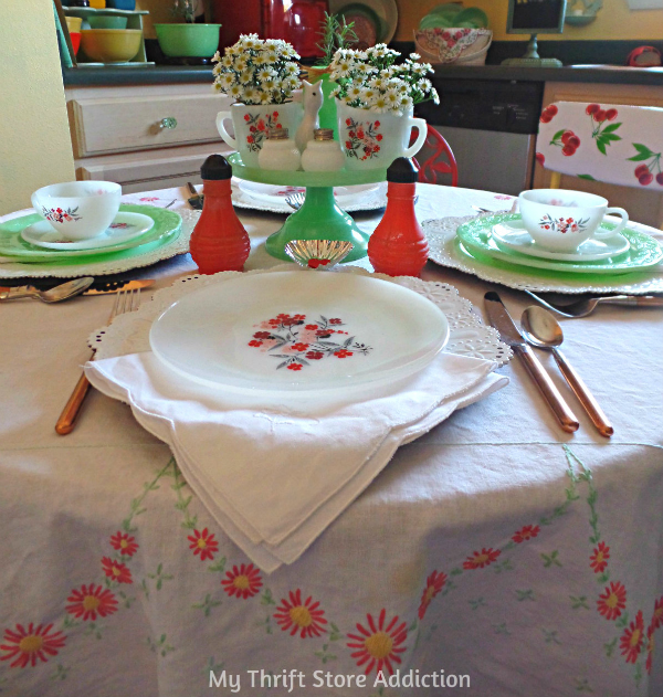 Valentine Tablescape mythriftstoreaddiction.blogspot.com Vintage Jadeite, Fire King Primrose and Hazel Atlas