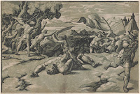 Wood print made of chiaroscuro technique David Slaying Goliath (circa 1520) by Ugo da Carpi