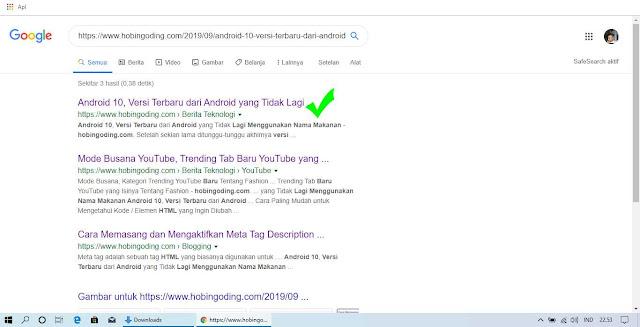 Link Artikel Sudah Terindex Google