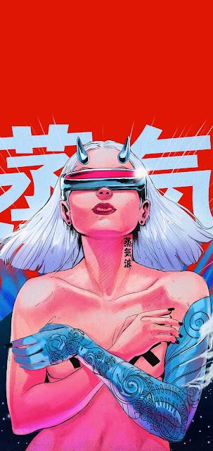 cyberpunk girl red wallpaper background