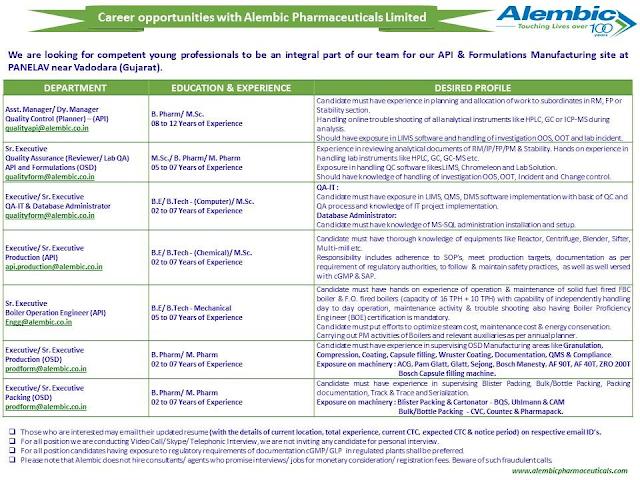 Alembic Pharma | Urgently Openings in QC / QA /Production / Engg / Packing Departments at Vadodara | Send CV