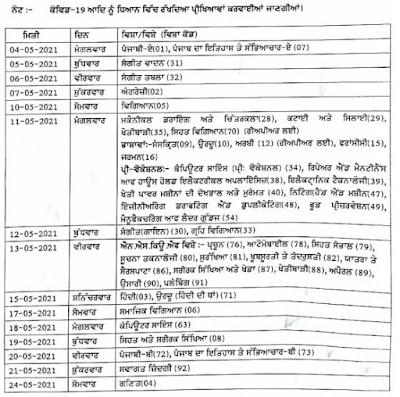 Punjab 10th Class Exam Time Table 2021