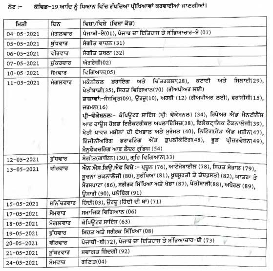 Punjab PSEB 10th Class Exam Time Table 2021
