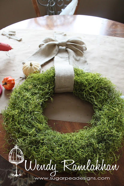 Sugarpea Design Fall Moss Covered Wreath - Tutorial