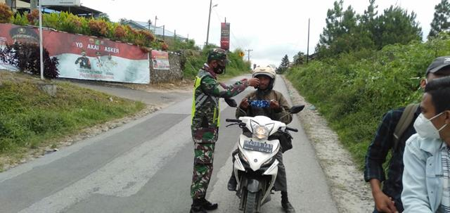 Cegah Penyebaran Covid-19, Personel Jajaran Kodim 0207/Simalungun Laksanakan Gakplin Diwilayah