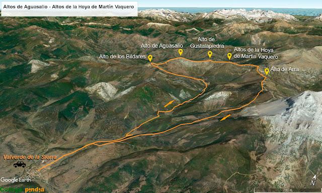 Mapa de la ruta detallado a los Altos de los Bildares, Aguasalio, Gustalapiedra, Martin Vaquero y de Arras desde Valverde de la Sierra.