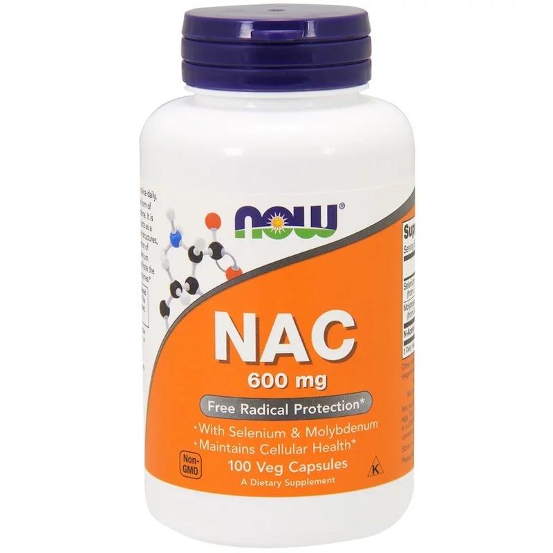 Now Foods, NAC (N-ацетил-цистеин), 600 мг, 100 растительных капсул