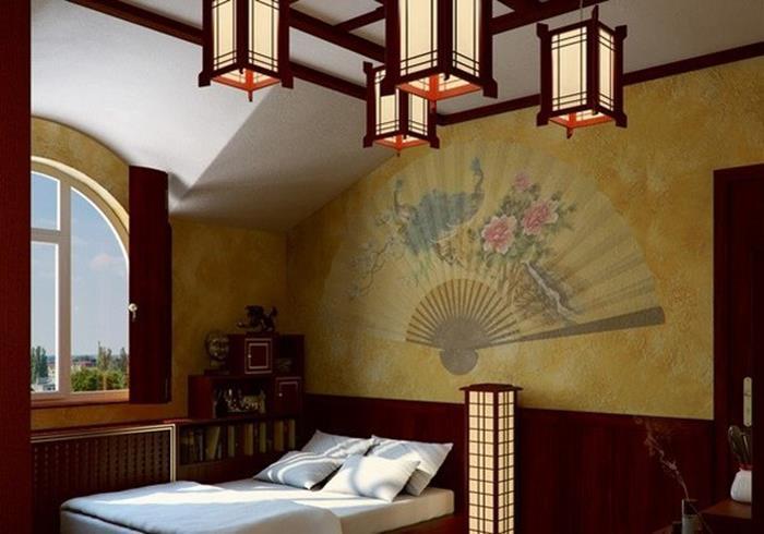 uzak doğu stili yatak odası dekorasyonu