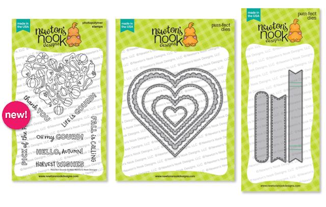 Heartfelt Gourds Stamp Set, Heart Frames and Banner Trio Die Sets by Newton's Nook Designs #newtonsnook