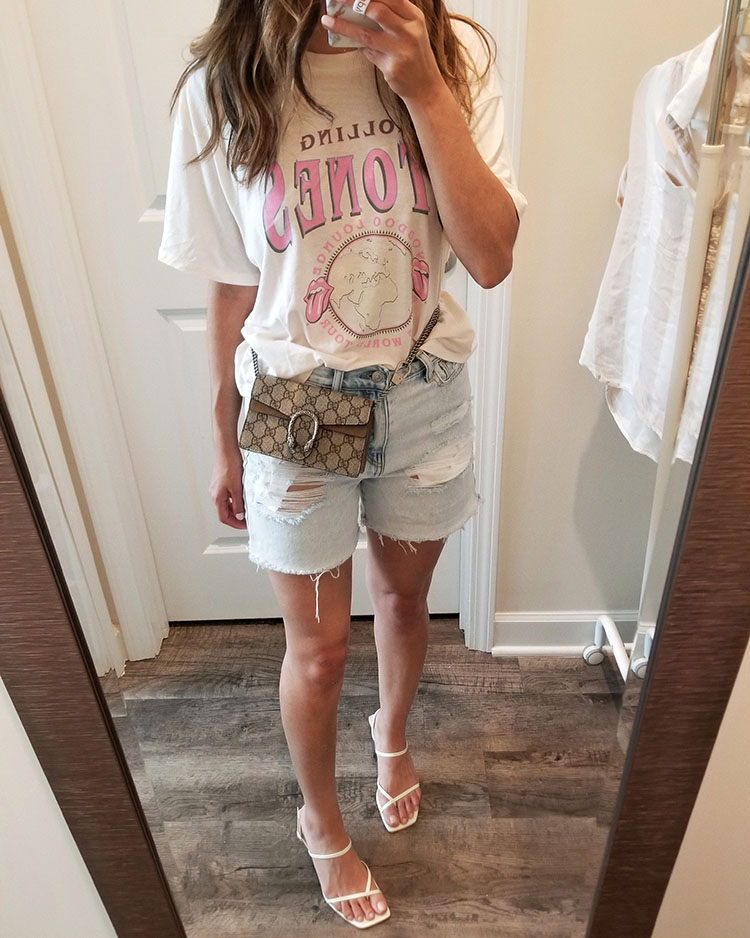 american eagle summer try on haul 2019   zara white strappy sandals   american eagle mom shorts review   rolling stones band tee