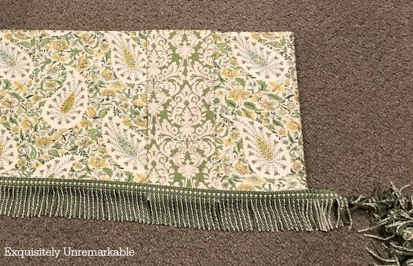 Green Waverly Valance with green and gold colored Trim