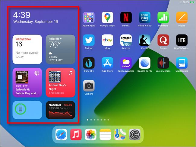 """منطقة عنصر واجهة المستخدم """"عرض اليوم"""" كما تظهر على شاشة الصفحة الرئيسية لجهاز iPad في iPadOS 14."""