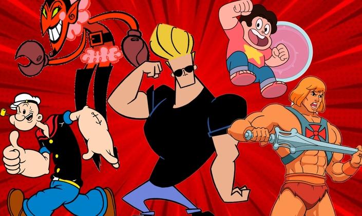 Imagem: Fundo vermelho, vários personagens clássicos dos desenhos animados como: o ele de meninas super poderosas (um homem com aparência de demônio, pele vermelha e garras de caranguejo, usa um vestido de gola com plumas e bota de cano alto, além de usar maquiagem), marinheiro popeye (homem branco e careca com roupas de marinheiro e braços muito fortes, ele fuma cachimbo), Jhonny Bravo (homem branco, loiro com topete, usa oculos escuros e blusa preta, ele é muito musculoso), He-man (Homem branco musculoso, sem camisa, com uma espada na mão, seu cabelo é chanel, liso e loiro), steven Universo (garoto gordo e baixo, cabelo cacheado preto, sua pele é rosada, e ele usa uma camisa salmão com uma estrela).)